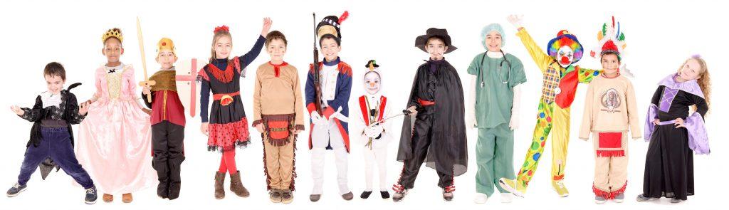 Kids dressed in various halloween costumes