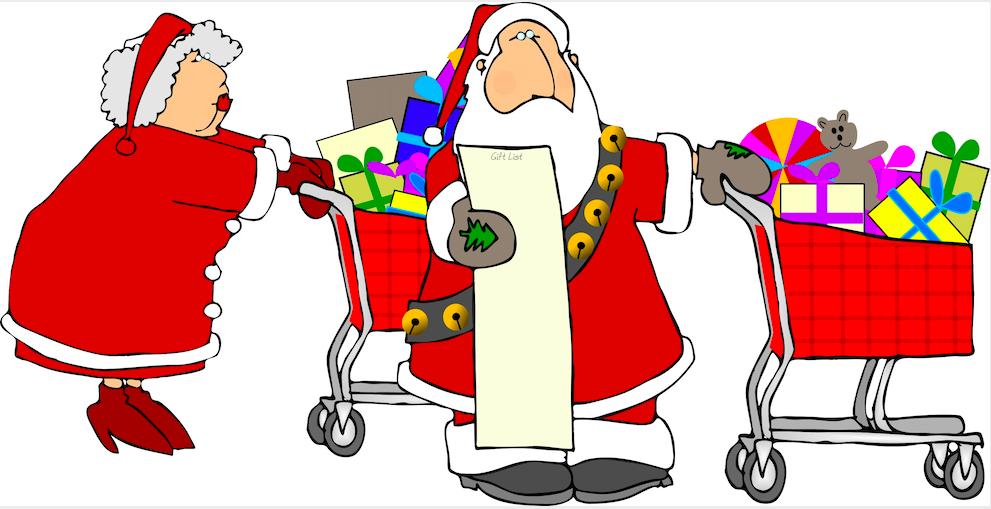 Santa and Mrs Claus shopping